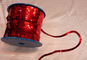 SP03 6mm Red Sequin Spool String Flat Sequin 100yards