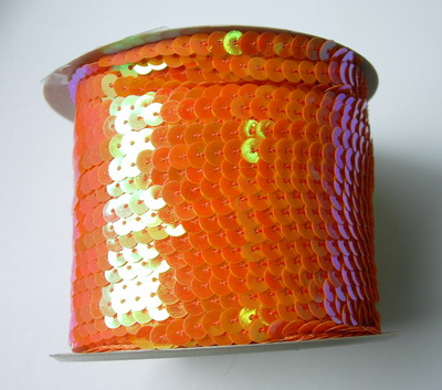 SP18 6mm Orange Iris Sequin Spool String Flat Sequin 100yards