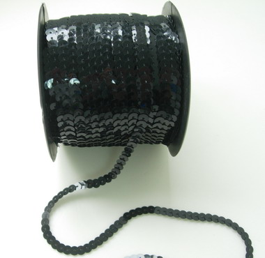 SP10 6mm Black Sequin Spool String Flat Sequin 100yards