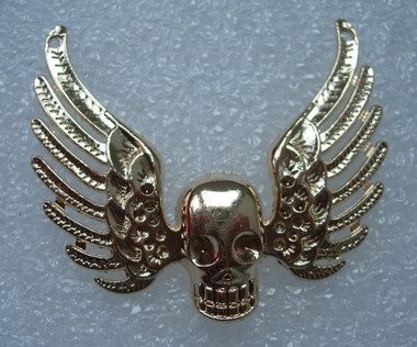 KU12 Angel Wings Skull Punk Metal Applique Sew On Gold 2pcs