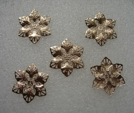 KU17 Copper Alloy Petals Flower Connector Plated Filigree 5pcs
