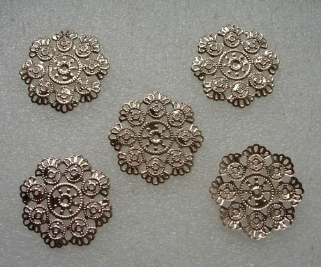 KU21 Copper Celtic Flower Connector Plated Filigree Finding 5pcs