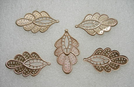 KU24 Copper Plated Leaf Filigree Connector Finding 5pcs