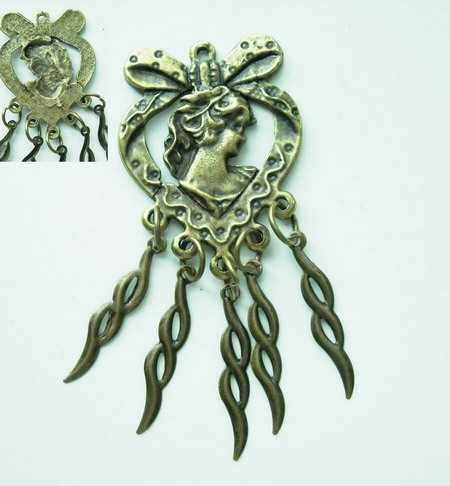 KU08 Vintage Victorian Lady Pin w/Dangle Dress Accessory