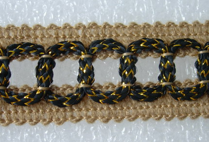 GB71 23mm Chain Woven Rayon Gimp Braid Light Brown/Black 10Yds