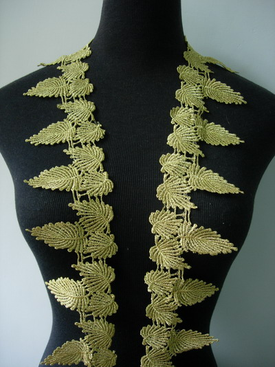"TL110 3"" Tree Leaves Leaf Metallic Gold Trim Venise Lace 1yard"