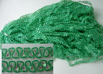 "GB07 1/2"" Green Knitted Trimming Gimp Braid Edge Doll/Tutu 10y"