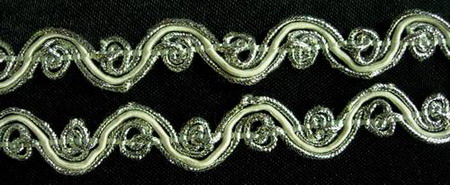 "GB17 Scroll Gimp Braid Trim 1/2"" Wide Silver & White 10 Yds"