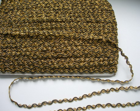 "GB19-2 3/8"" Wide Scroll Gimp Braid Trim Gold & Black 10 Yds"
