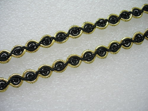 "GB20 3/8"" Wide Gold Black Rosette Chain Braided Gimp Trim 10yard"