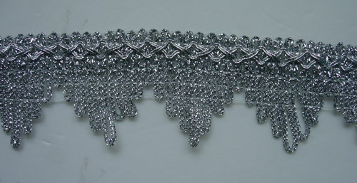 "GB34 1.5"" Metallic Silver Gimp Trim Pyramid 6y"