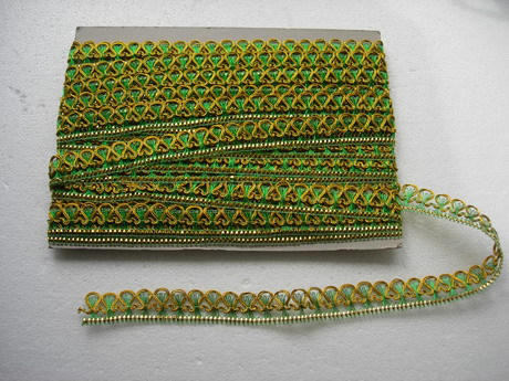 "GB38 1"" Metallic Gold Green Loop Gimp Trim 10y"