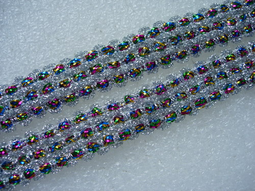 "GB53-2 7/8"" Silver Multicolor Trim Gimp Braid Lace Edge 10yds"