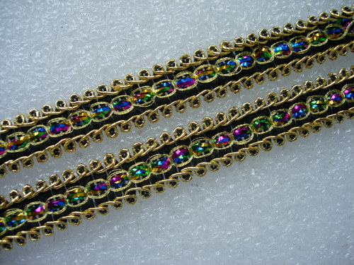 "GB54-2 1/2"" Gold Multicolor Metallic Braided Gimp Trim Edging10y"