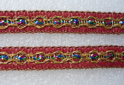 "GB55-2 5/8"" Colorful Maroon Fabric Trim Gimp Braid Edge Lace 10y"