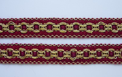 "GB55 5/8"" Maroon Gold Fabric Trim Gimp Braid Edge for Dress 10y"