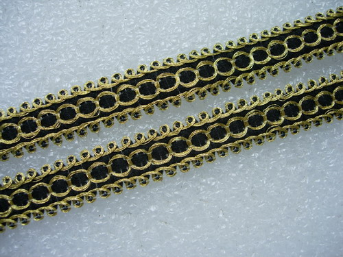 "GB73 1/2"" Gold Black Braided Gimp Trimming Lace Edge 10yds"