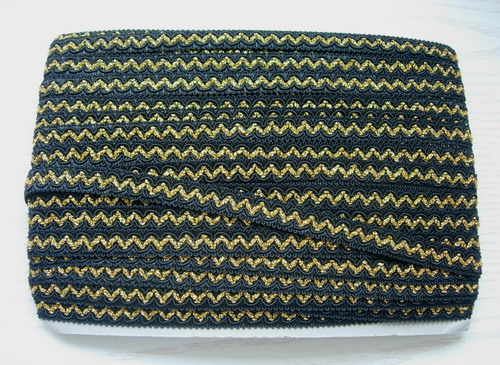 "GB83 5/8"" Black Gold Woven Cord Gimp Braided Trim 10y"