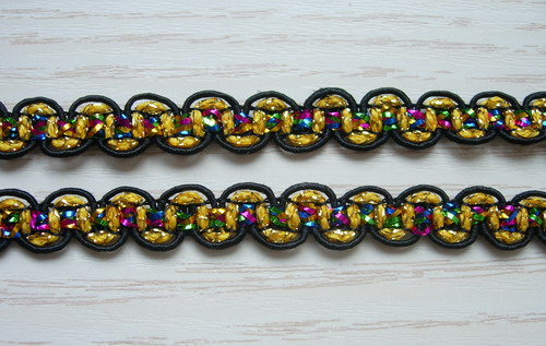 "GB89 3/8"" Gold/Black/Multicolor Antique Trim Braided Gimp 10y"