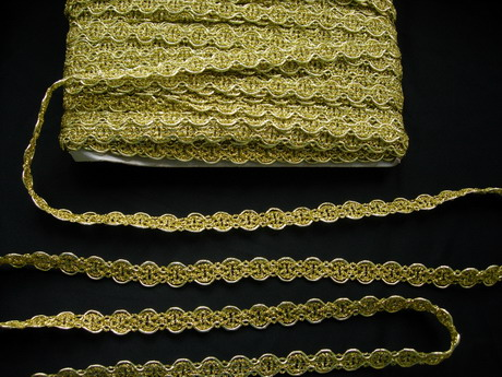 "GB94 6/8"" Metallic Gold Cycle Chain Gimp Cord Trim Upholster 10y"