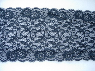 "LE11 8 2/8"" Floral Flower Stretch Sheer Lace Border Black 1Yard"