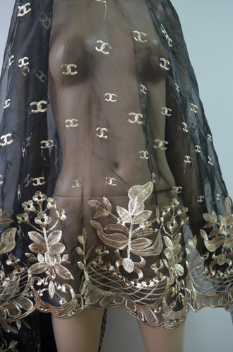 "LE18 51"" Organza Embroidered Flora Sheer Lace Gold Trim Fabric1y"