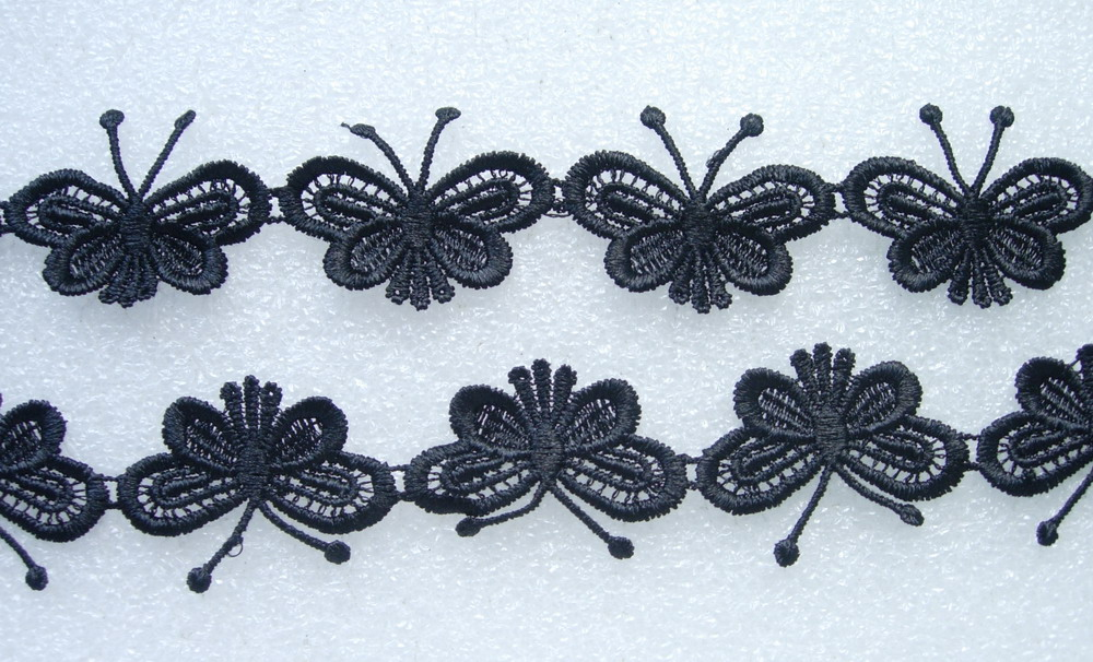 "OT22-2 1.5"" Butterfly Venise Venice Lace Trim Black 1yard"