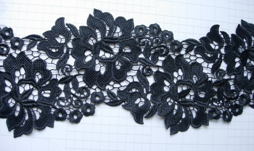 "OT61 6"" Wide Floral Flower Lace Venise Venice Black 1y"