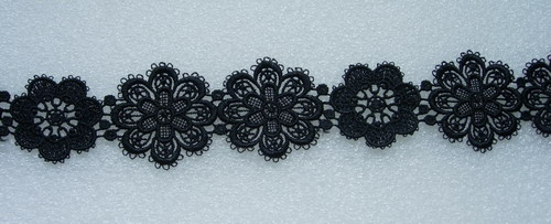 OT88 Pretty Flower Venise Venice Lace Edge Black 1yard