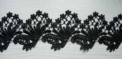 ot93 4 floral leaves venise venice lace edge border black
