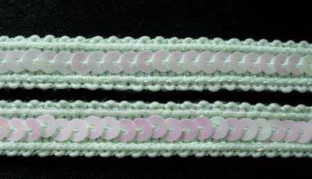 "ST05 1/2"" White Iris Sequin Trim Gimp Braid Lace 10yds"