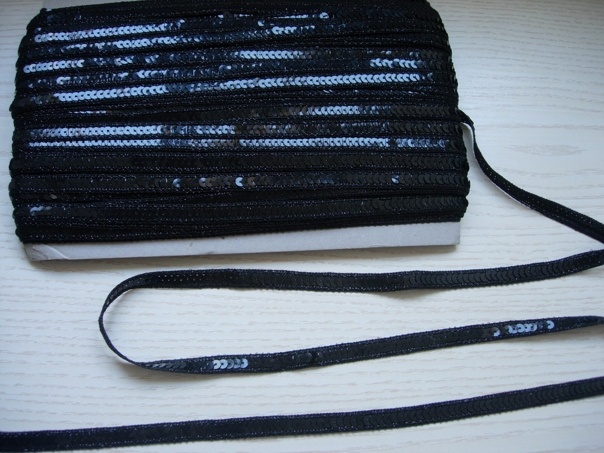 "ST08 1/2"" Black Sequin Trim Gimp Braid Lace 10yds"