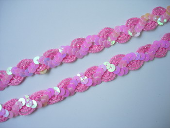 "ST15 1/2"" WAVE Style Sequin Trim Gimp Braid Lace Pink 10yds"