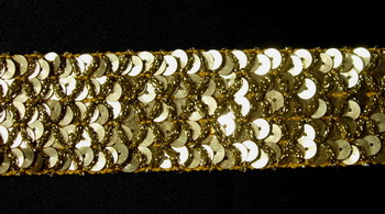 "ST24 1 3/8"" Sequined Trim Braid Lace Gold 10yds"