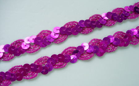 "ST22 1/2"" WAVE Sequin Trim Gimp Braid Lace Fuchsia 10yds"