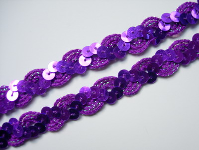 "ST23-2 1/2"" WAVE Sequin Trim Gimp Braid Lace Purple 10yds"