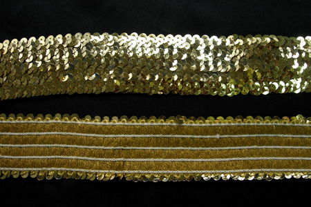 "TC04 Stretch Sequins 5-Row 1 7/8"" Gold Elastic Sequin Trim 1yd"