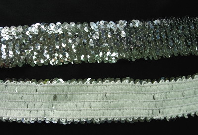 "TC05 Stretch Sequins 5-Row 1 7/8"" Silver Trim Lace 1yd - Click Image to Close"