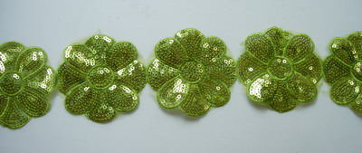 TL100 Big Flower Embroidery Sequins Trim Lace Edge Lime 1y