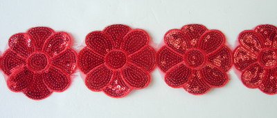 TL102 Big Flower Embroidery Sequins Trim Lace Edge Red 1y