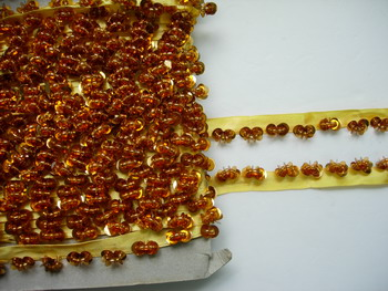 "TL104 5/8"" Sequined beaded Trim Edge Gold Handmade 4yds"
