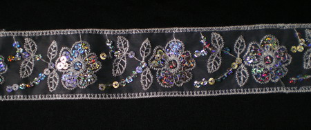 TL11 Flower Hologram Sequin Venice Lace Border Trim