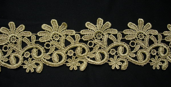 "TL118 2 5/8"" Pretty Floral Metallic Gold Trim Lace Edge 1yd"