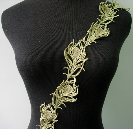 "TL120 2"" L.Gold Floral Leaves Lace Metallic Trim Lace Edge 1yd"
