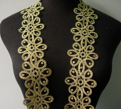 "TL122 2.5"" Celtic Floral Metallic Trim Lace Edge Gold 1yd"