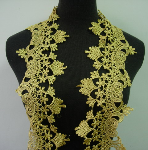 "TL123 5"" Classic Vintage Floral Metallic Trim Lace Edge Gold 1y"