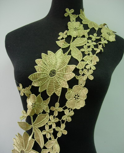 "TL124 6"" Trendy Floral Leaves Metallic Trim Lace Edge Gold 1y"