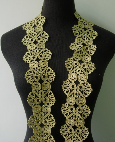 "TL126 2 7/8"" Celtic Swirls Metallic Trim Lace Edge Gold 1y"