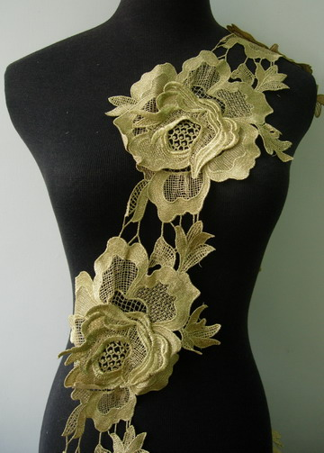"TL128 7"" Tier Floral Rose Peony Metallic Trim Lace Edge Gold 1M"