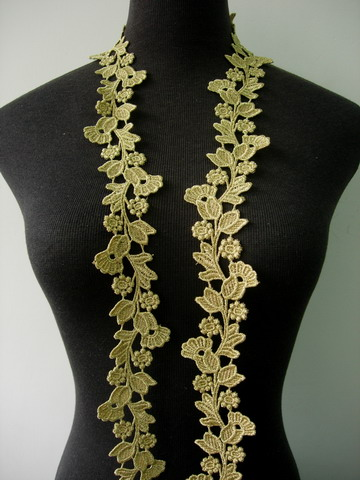"TL132 2 1/8"" Bellflower Floral Metallic Gold Trim Lace Edge 1Y"